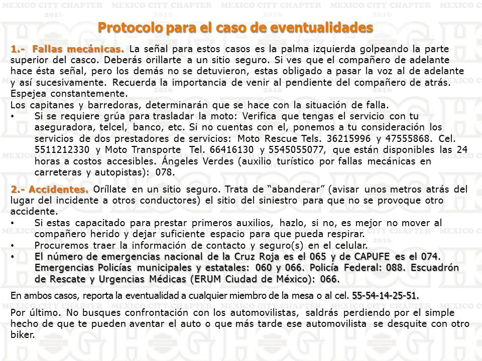 Protocolo eventualidades 2016